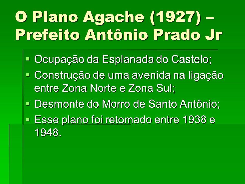 O Plano Agache (1927) – Prefeito Antônio Prado Jr Ocupação da Esplanada do Castelo; Ocupação da Esplanada do Castelo; Construção de uma avenida na lig