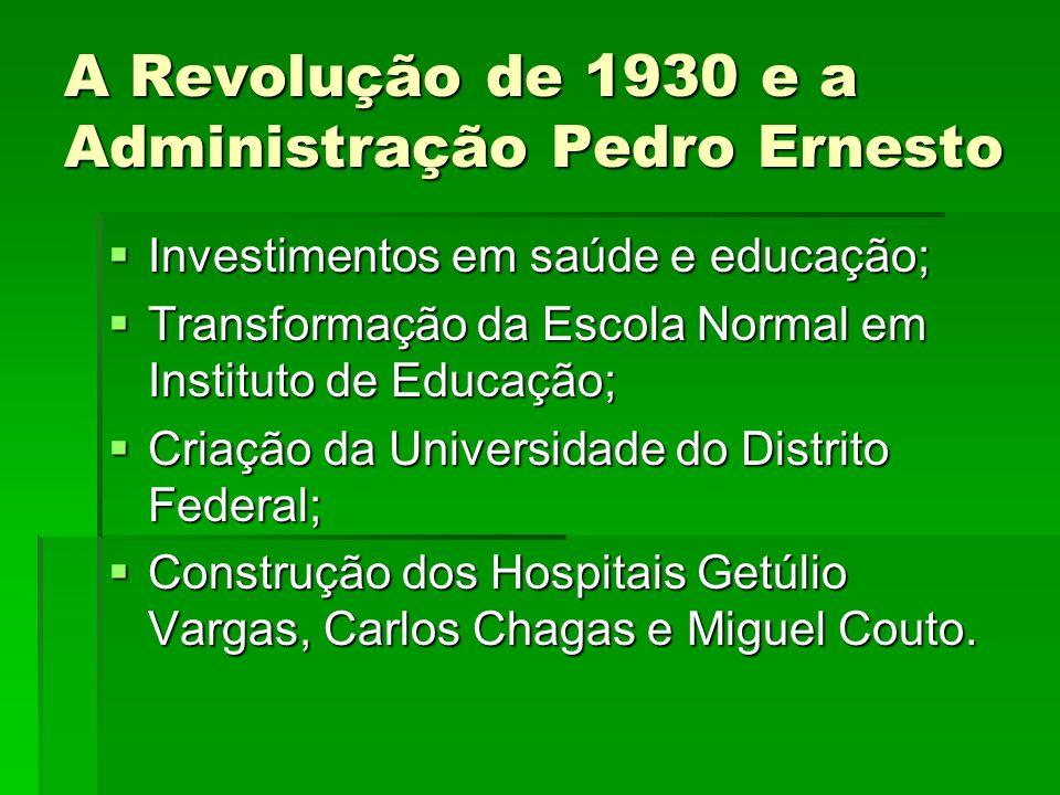 A Revolução de 1930 e a Administração Pedro Ernesto Investimentos em saúde e educação; Investimentos em saúde e educação; Transformação da Escola Norm