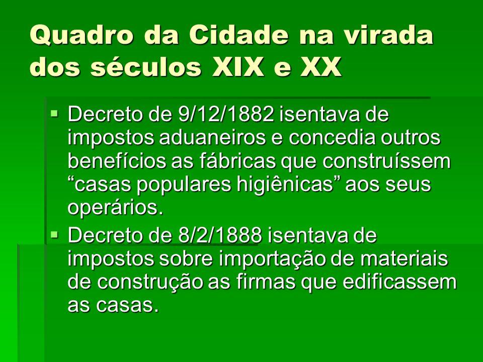 Quadro da Cidade na virada dos séculos XIX e XX Decreto de 9/12/1882 isentava de impostos aduaneiros e concedia outros benefícios as fábricas que cons