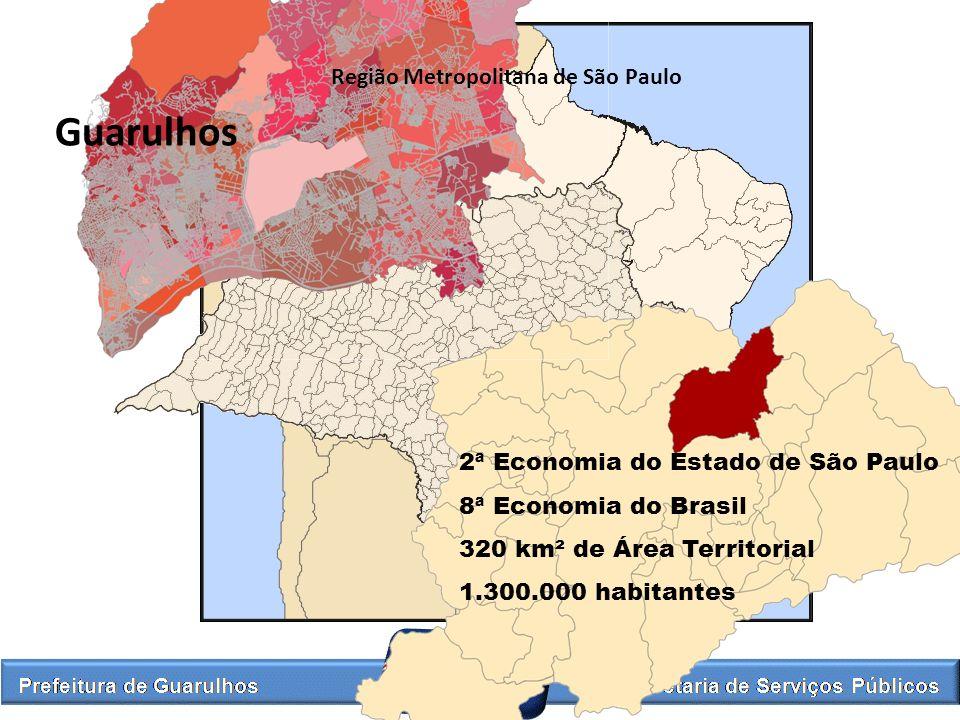 2ª Economia do Estado de São Paulo 8ª Economia do Brasil 320 km² de Área Territorial 1.300.000 habitantes Guarulhos Região Metropolitana de São Paulo