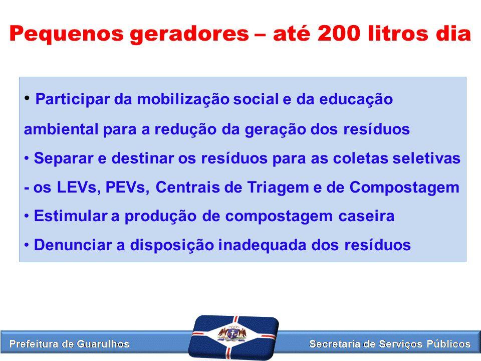 Pequenos geradores – até 200 litros dia Participar da mobilização social e da educação ambiental para a redução da geração dos resíduos Separar e dest