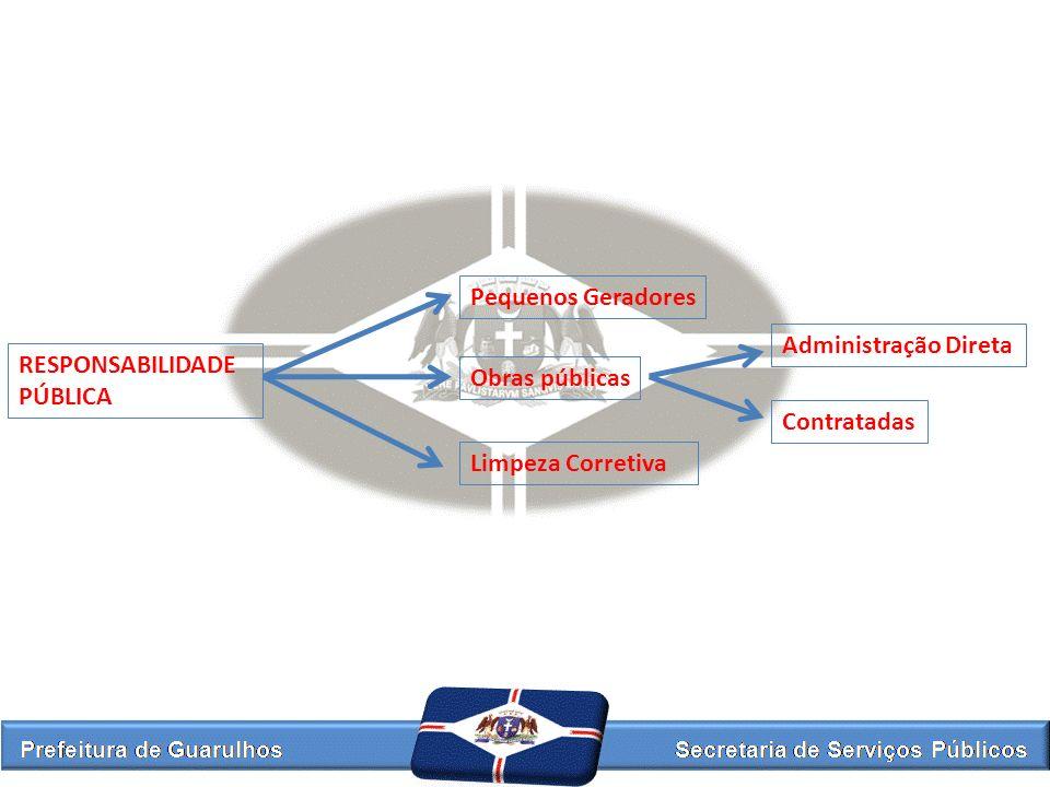 RESPONSABILIDADE PÚBLICA Pequenos Geradores Obras públicas Limpeza Corretiva Administração Direta Contratadas