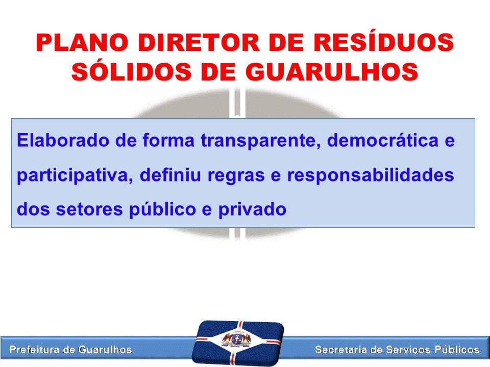PLANO DIRETOR DE RESÍDUOS SÓLIDOS DE GUARULHOS Elaborado de forma transparente, democrática e participativa, definiu regras e responsabilidades dos se