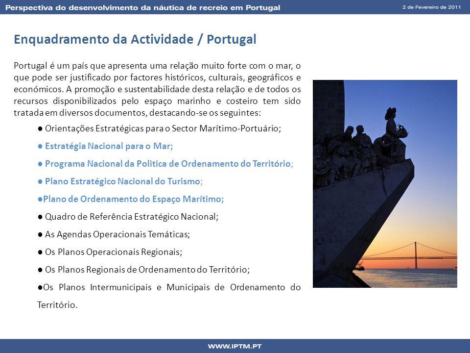 Enquadramento da Actividade / Portugal Portugal é um país que apresenta uma relação muito forte com o mar, o que pode ser justificado por factores his