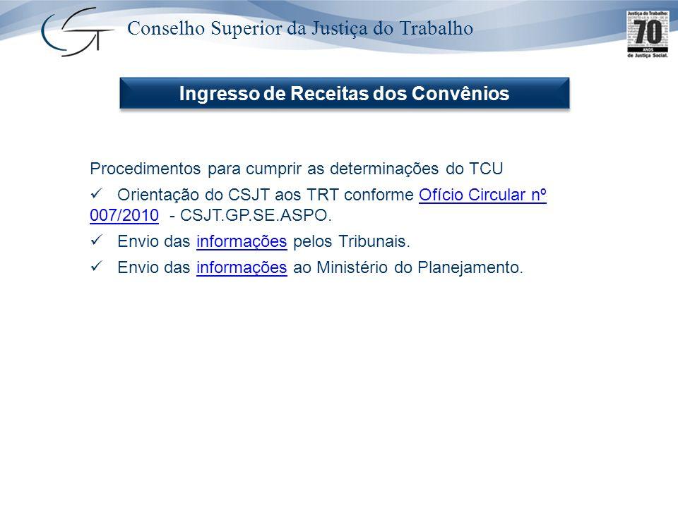 Conselho Superior da Justiça do Trabalho Ingresso de Receitas dos Convênios Procedimentos para cumprir as determinações do TCU Orientação do CSJT aos