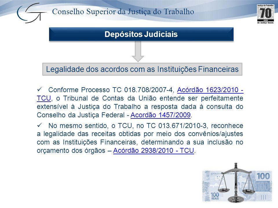 Conselho Superior da Justiça do Trabalho Legalidade dos acordos com as Instituições Financeiras Depósitos Judiciais Conforme Processo TC 018.708/2007-