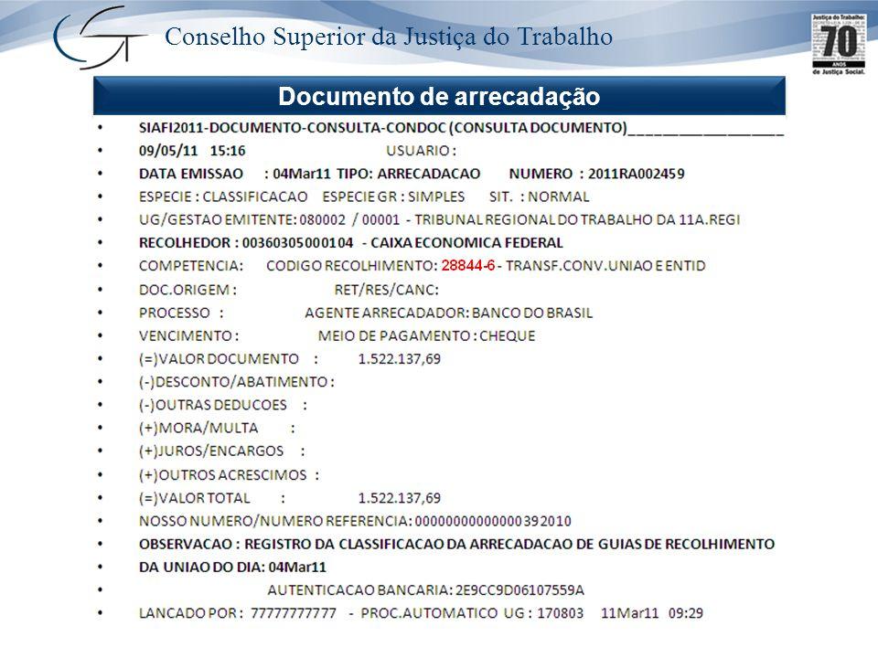 Conselho Superior da Justiça do Trabalho Documento de arrecadação