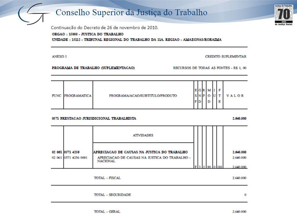 Conselho Superior da Justiça do Trabalho Continuação do Decreto de 26 de novembro de 2010.