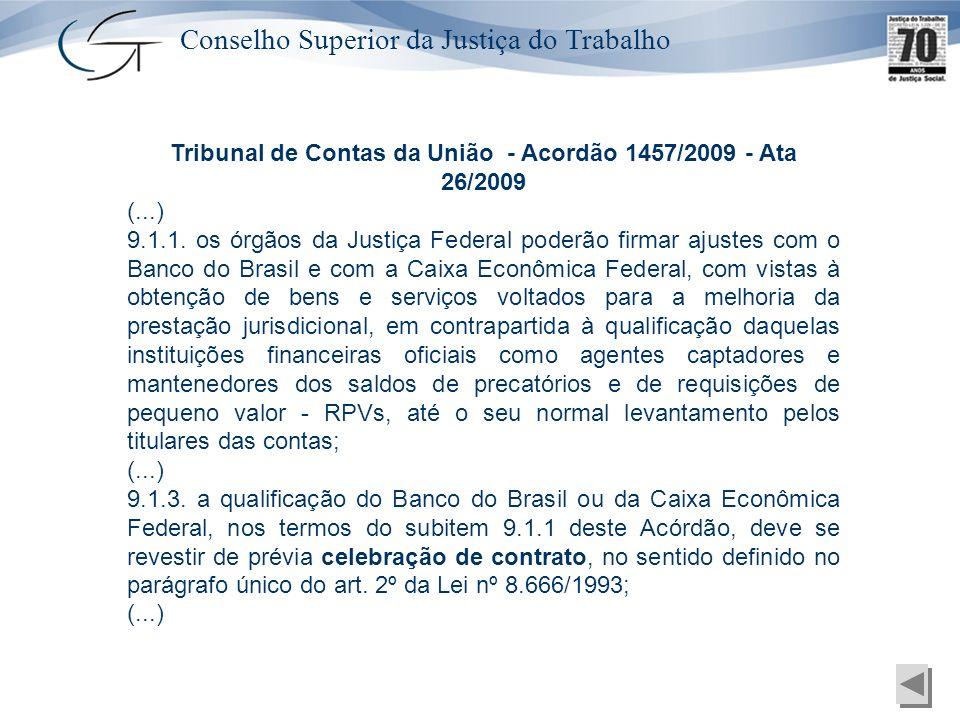 Conselho Superior da Justiça do Trabalho Tribunal de Contas da União - Acordão 1457/2009 - Ata 26/2009 (...) 9.1.1. os órgãos da Justiça Federal poder