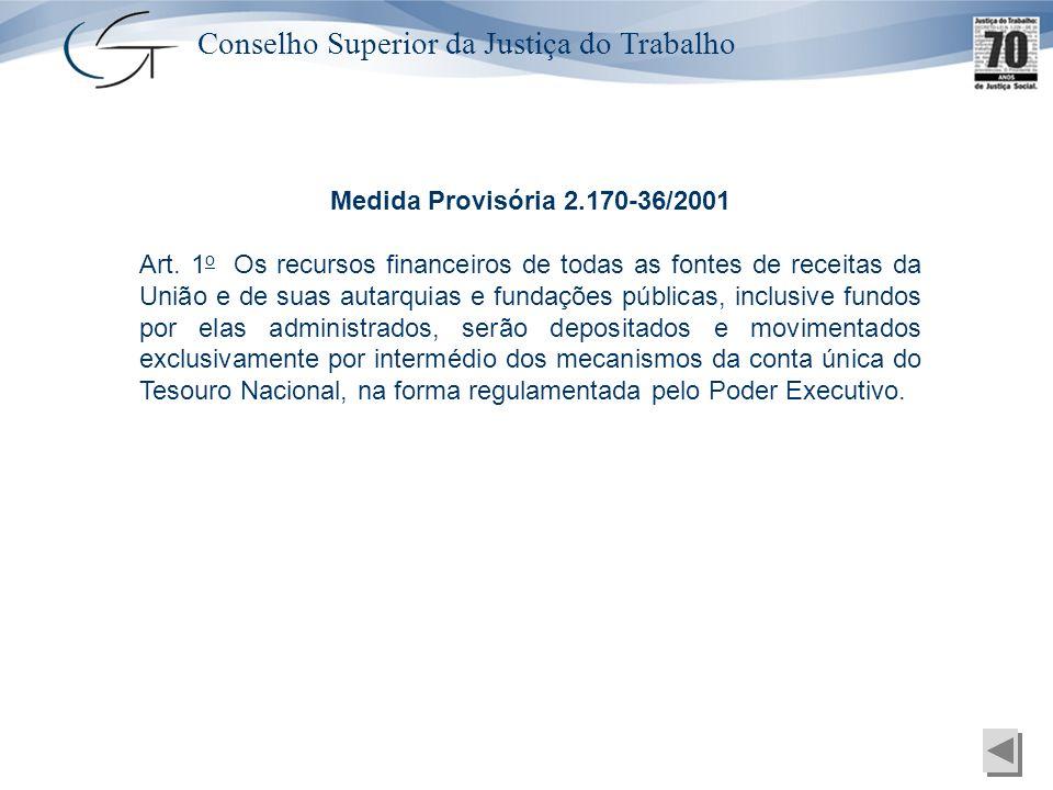 Conselho Superior da Justiça do Trabalho Medida Provisória 2.170-36/2001 Art. 1 o Os recursos financeiros de todas as fontes de receitas da União e de