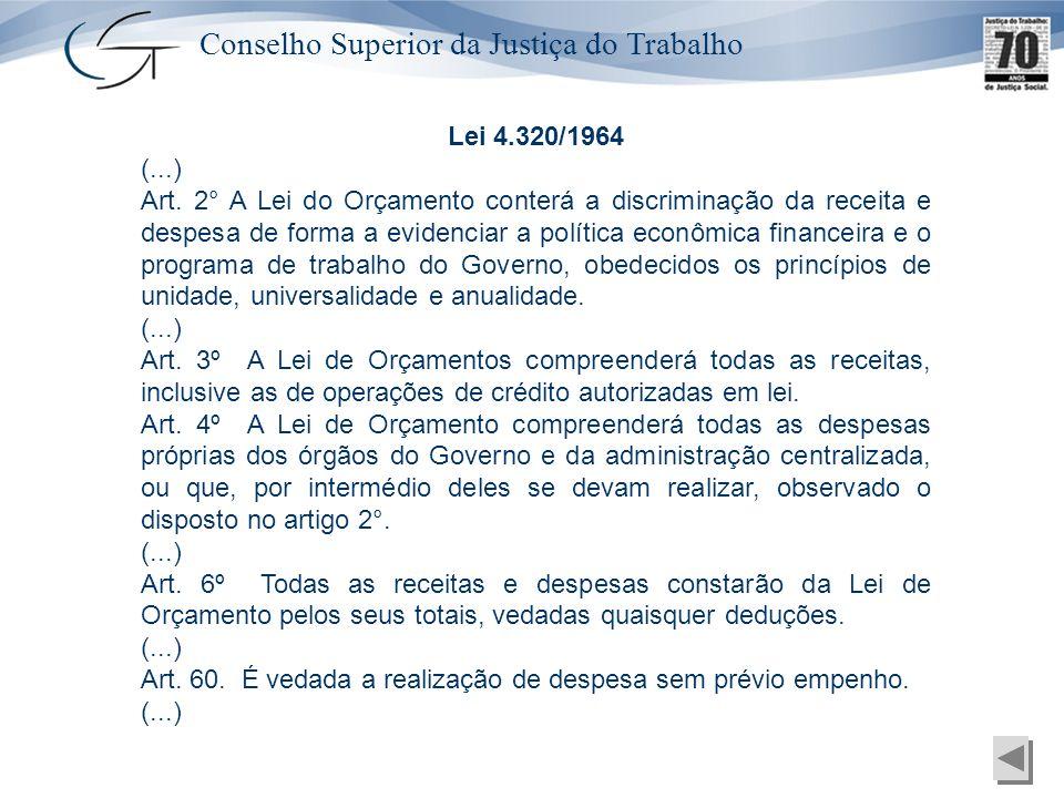 Conselho Superior da Justiça do Trabalho Lei 4.320/1964 (...) Art. 2° A Lei do Orçamento conterá a discriminação da receita e despesa de forma a evide
