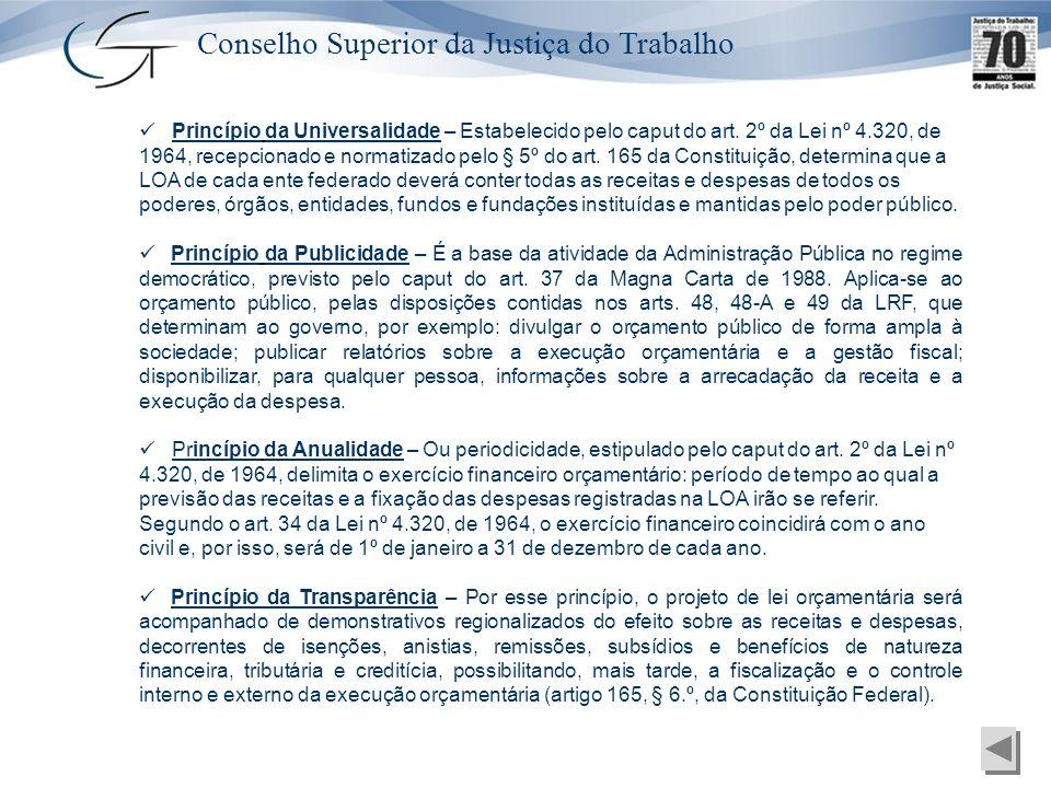 Conselho Superior da Justiça do Trabalho Princípio da Universalidade – Estabelecido pelo caput do art. 2º da Lei nº 4.320, de 1964, recepcionado e nor