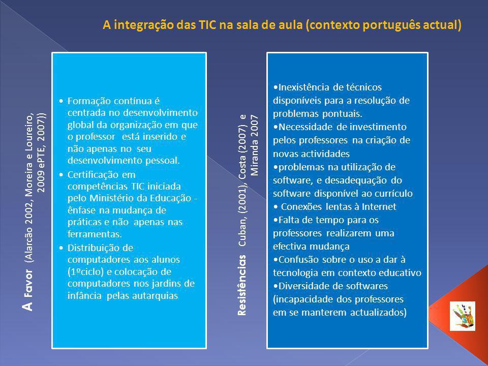 A Favor (Alarcão 2002, Moreira e Loureiro, 2009 ePTE, 2007)) Formação contínua é centrada no desenvolvimento global da organização em que o professor