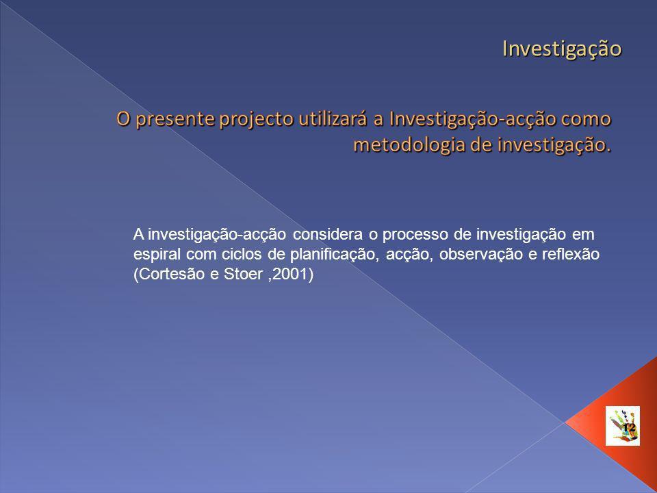 12 Investigação A investigação-acção considera o processo de investigação em espiral com ciclos de planificação, acção, observação e reflexão (Cortesã