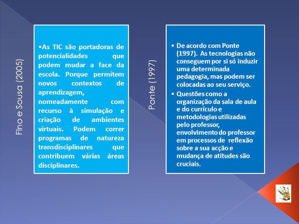 Fino e Sousa (2005) As TIC são portadoras de potencialidades que podem mudar a face da escola. Porque permitem novos contextos de aprendizagem, nomead