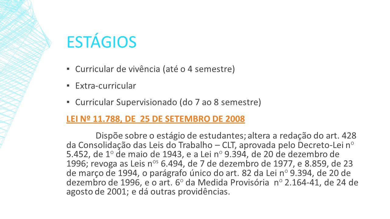ESTÁGIOS Curricular de vivência (até o 4 semestre) Extra-curricular Curricular Supervisionado (do 7 ao 8 semestre) LEI Nº 11.788, DE 25 DE SETEMBRO DE
