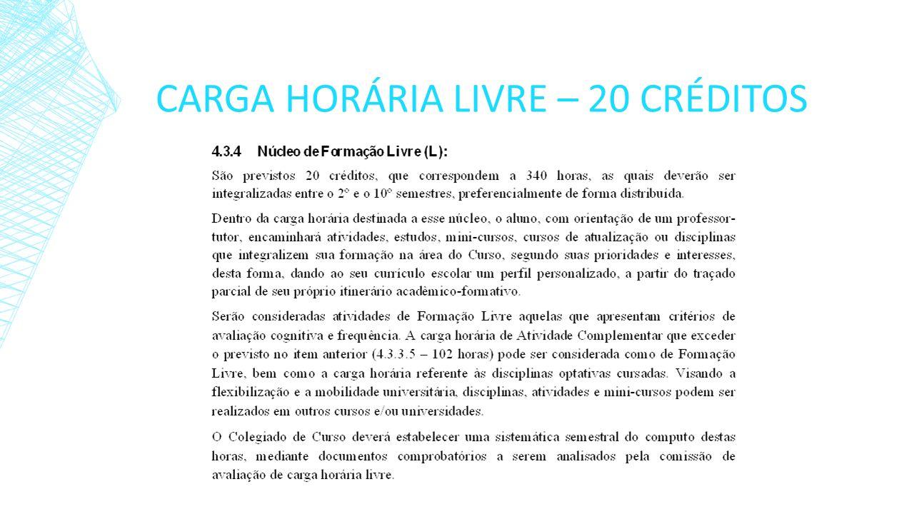 CARGA HORÁRIA LIVRE – 20 CRÉDITOS