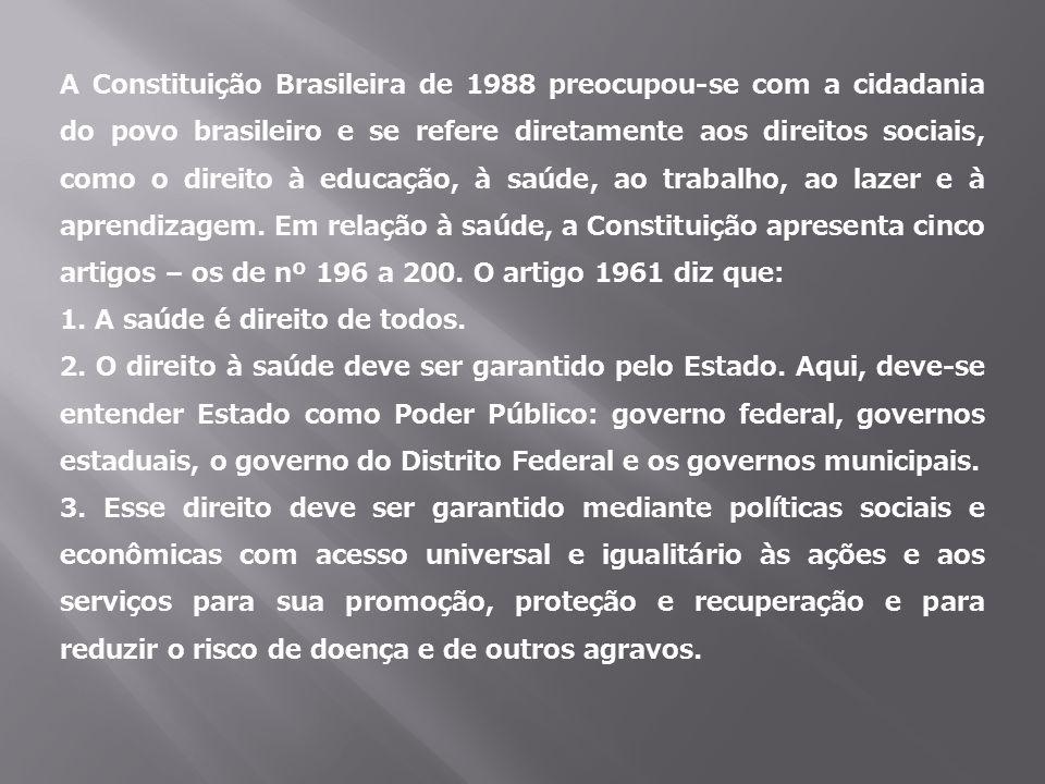 A Constituição Brasileira de 1988 preocupou-se com a cidadania do povo brasileiro e se refere diretamente aos direitos sociais, como o direito à educa