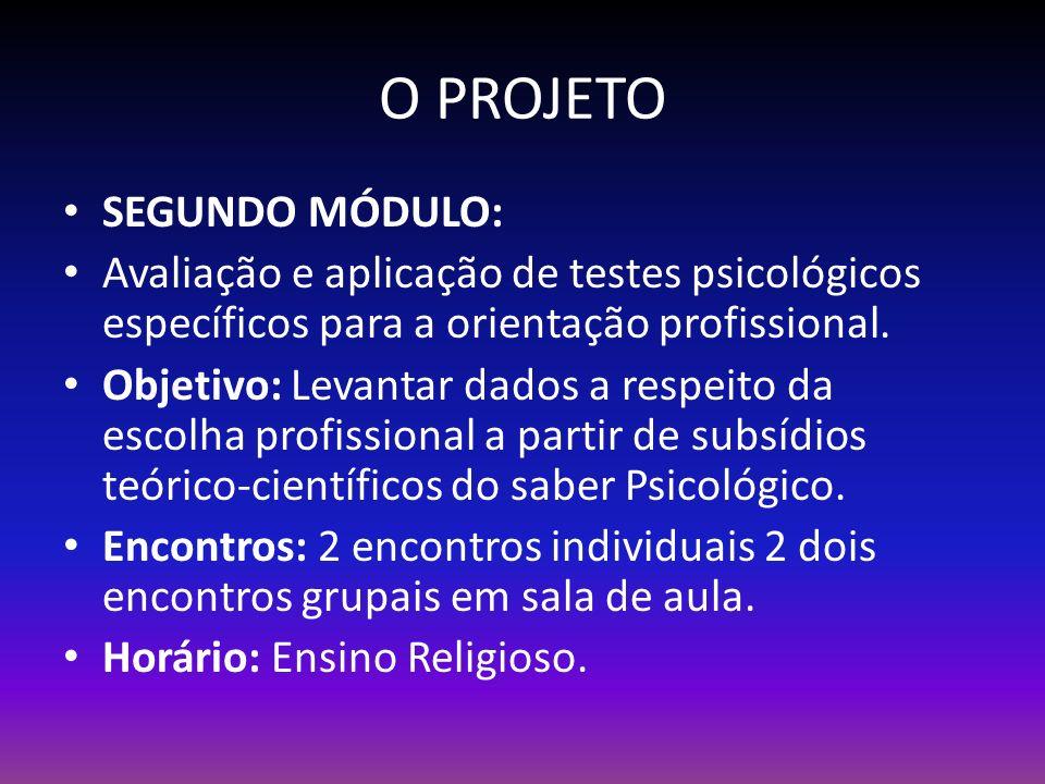 O PROJETO SEGUNDO MÓDULO: Avaliação e aplicação de testes psicológicos específicos para a orientação profissional.