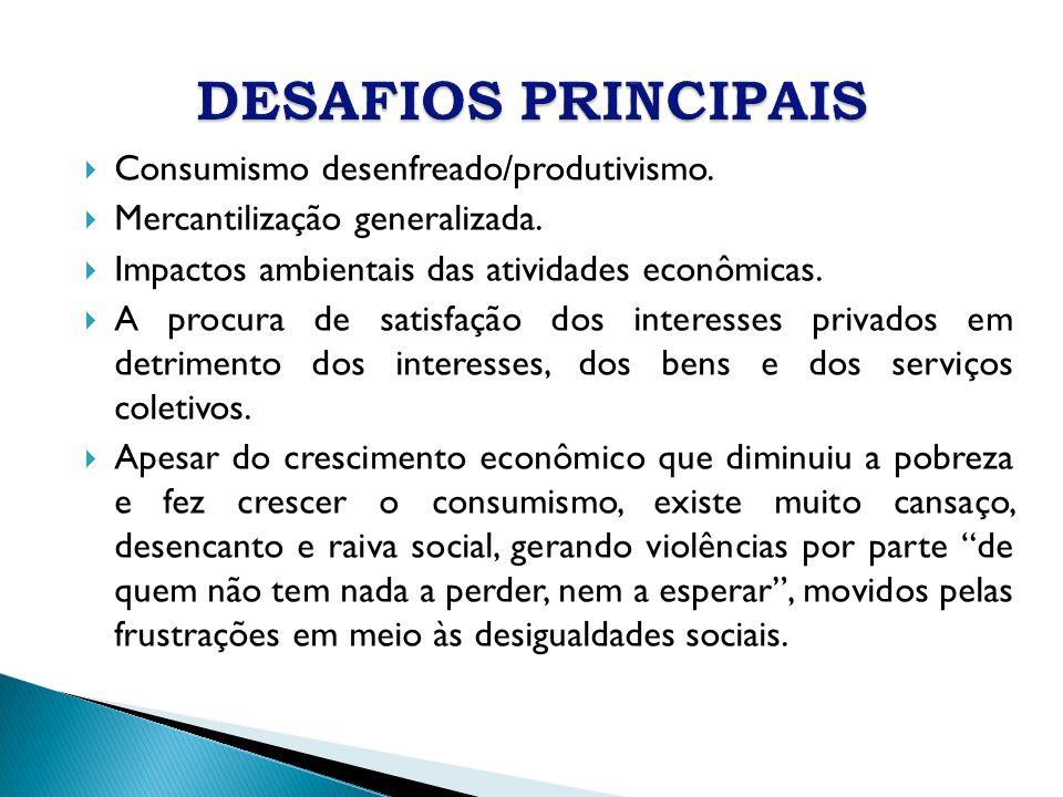 Consumismo desenfreado/produtivismo. Mercantilização generalizada. Impactos ambientais das atividades econômicas. A procura de satisfação dos interess