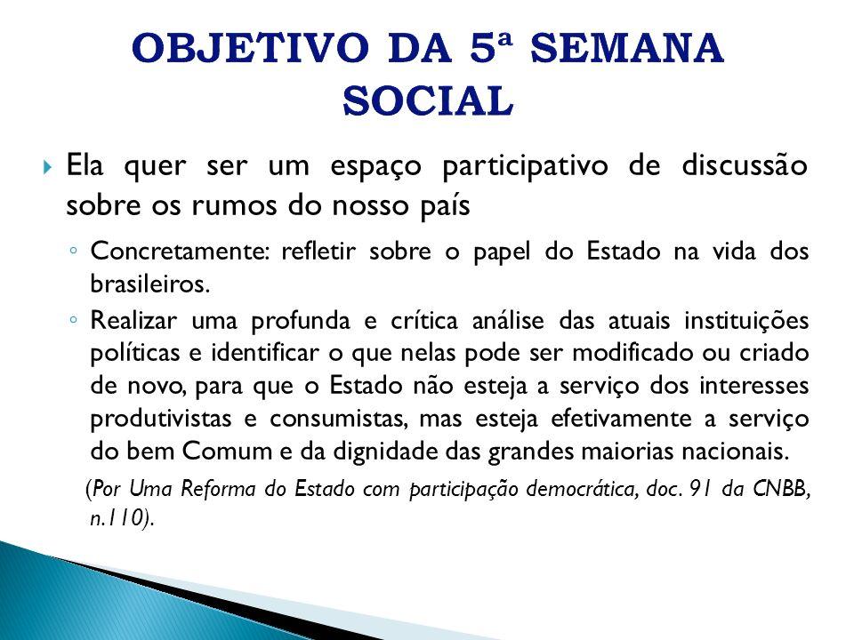 Ela quer ser um espaço participativo de discussão sobre os rumos do nosso país Concretamente: refletir sobre o papel do Estado na vida dos brasileiros