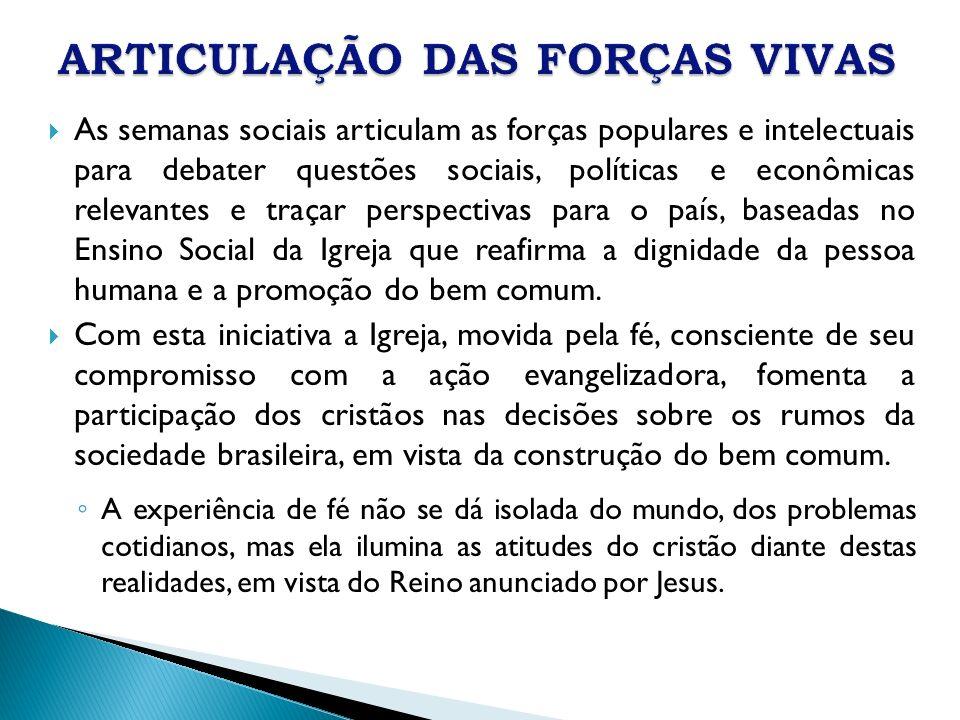 As semanas sociais articulam as forças populares e intelectuais para debater questões sociais, políticas e econômicas relevantes e traçar perspectivas