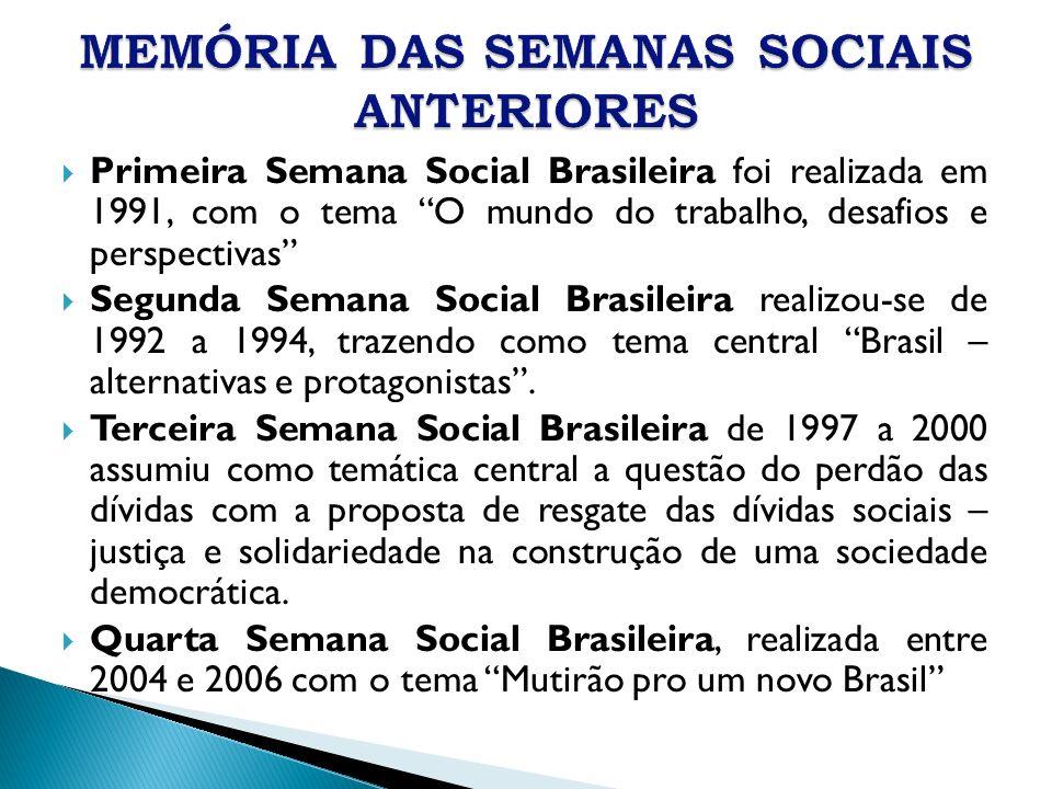 Primeira Semana Social Brasileira foi realizada em 1991, com o tema O mundo do trabalho, desafios e perspectivas Segunda Semana Social Brasileira real