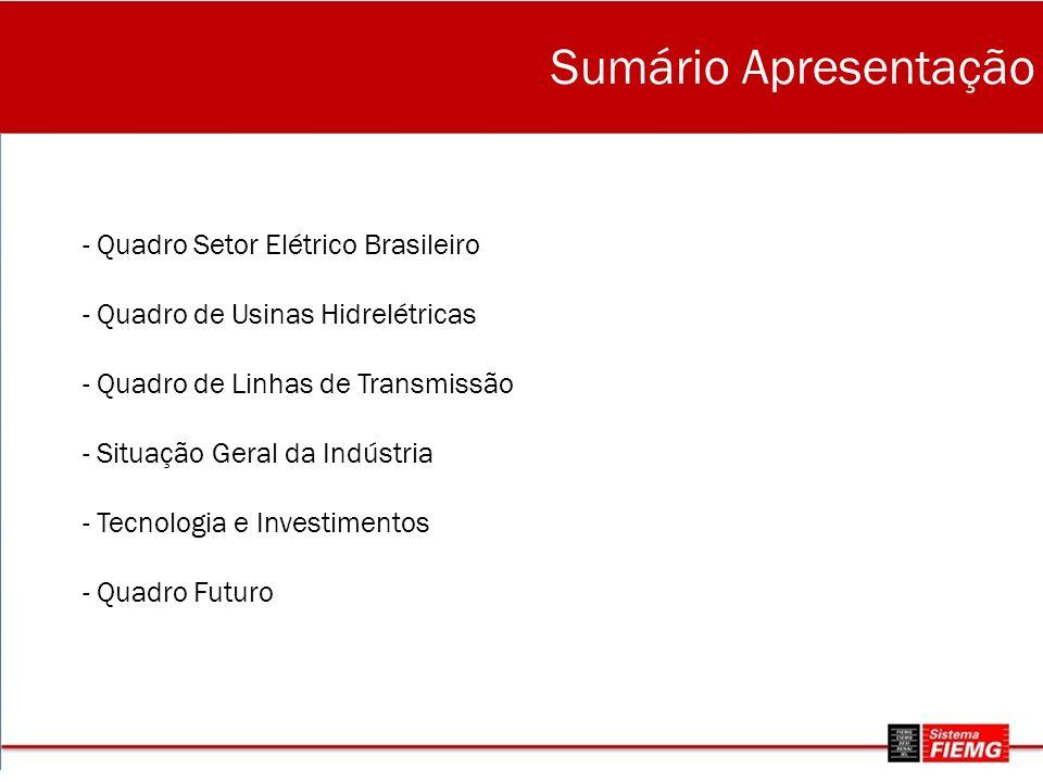 - Quadro Setor Elétrico Brasileiro - Quadro de Usinas Hidrelétricas - Quadro de Linhas de Transmissão - Situação Geral da Indústria - Tecnologia e Investimentos - Quadro Futuro Sumário Apresentação