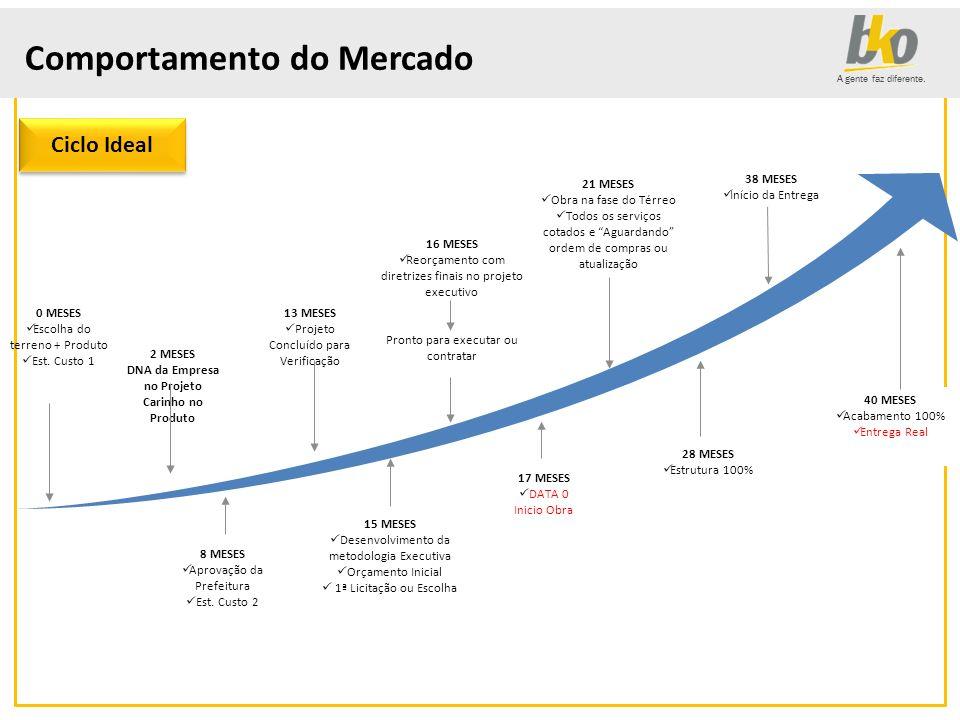 A gente faz diferente. Comportamento do Mercado 28 MESES Estrutura 100% 2 MESES DNA da Empresa no Projeto Carinho no Produto 13 MESES Projeto Concluíd