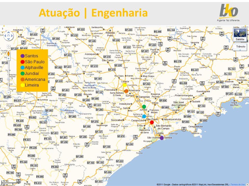 A gente faz diferente. Santos São Paulo Alphaville Jundiaí Americana Limeira Atuação | Engenharia