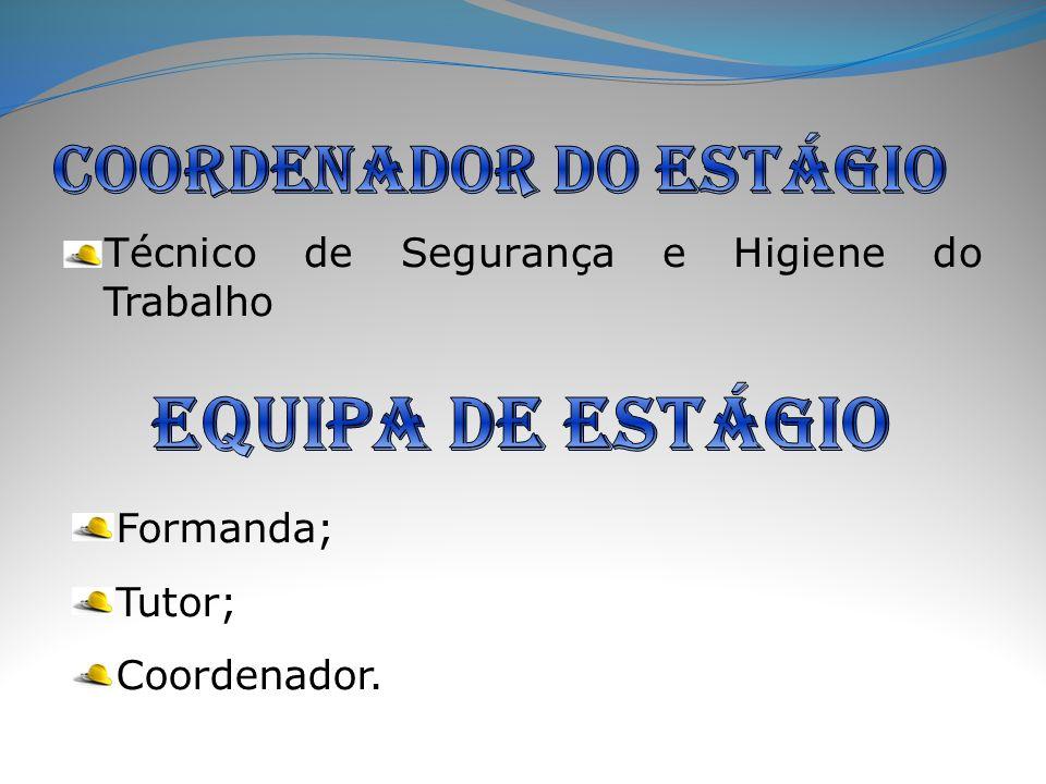 Técnico de Segurança e Higiene do Trabalho Formanda; Tutor; Coordenador.