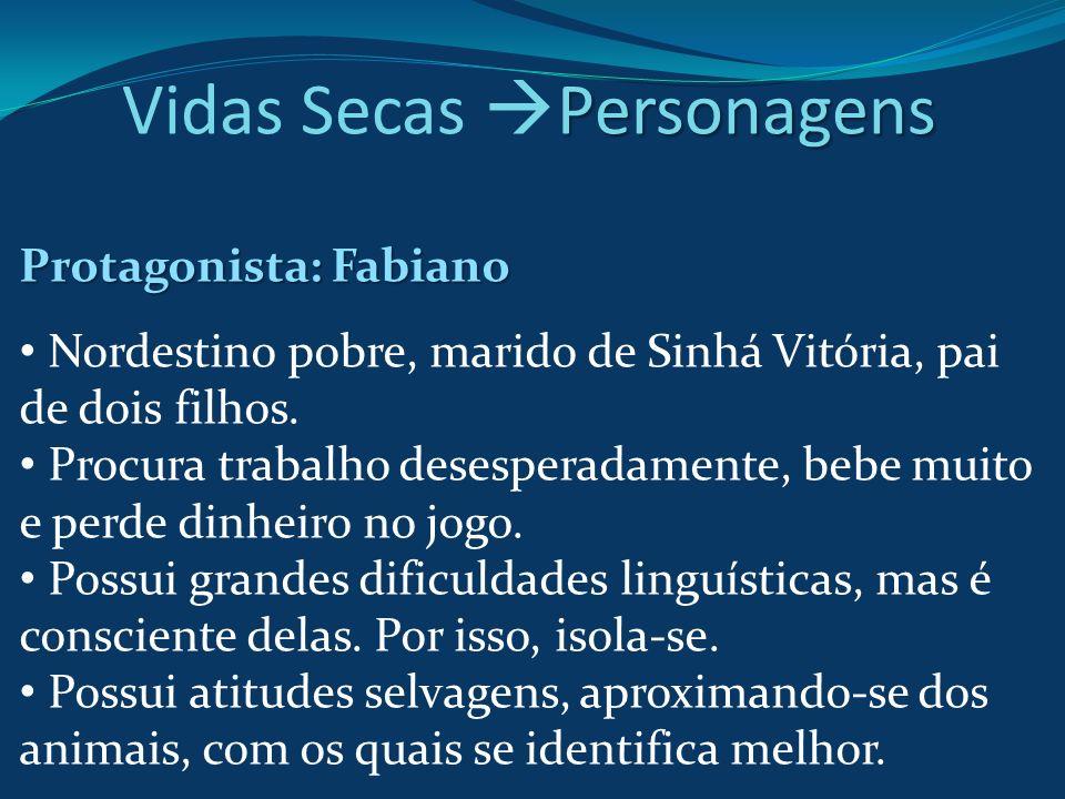 Protagonista: Fabiano Nordestino pobre, marido de Sinhá Vitória, pai de dois filhos. Procura trabalho desesperadamente, bebe muito e perde dinheiro no