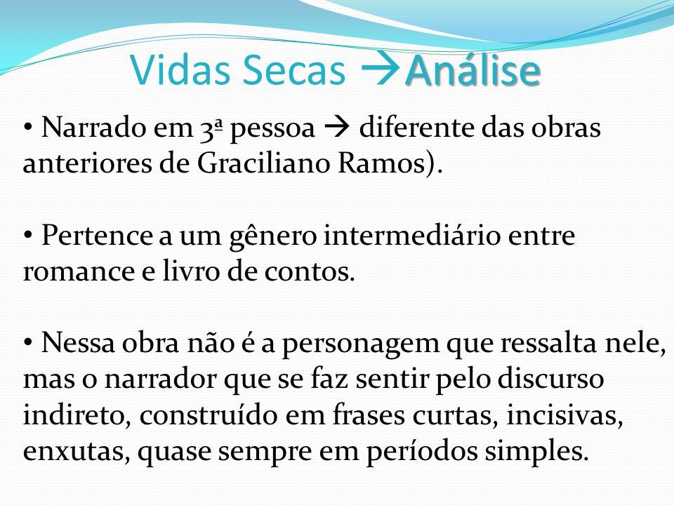 Análise Vidas Secas Análise Narrado em 3ª pessoa diferente das obras anteriores de Graciliano Ramos). Pertence a um gênero intermediário entre romance