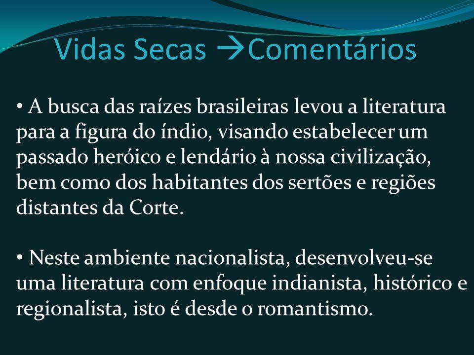 A busca das raízes brasileiras levou a literatura para a figura do índio, visando estabelecer um passado heróico e lendário à nossa civilização, bem como dos habitantes dos sertões e regiões distantes da Corte.