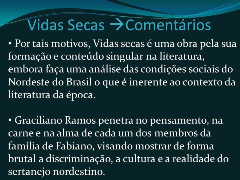 Por tais motivos, Vidas secas é uma obra pela sua formação e conteúdo singular na literatura, embora faça uma análise das condições sociais do Nordeste do Brasil o que é inerente ao contexto da literatura da época.