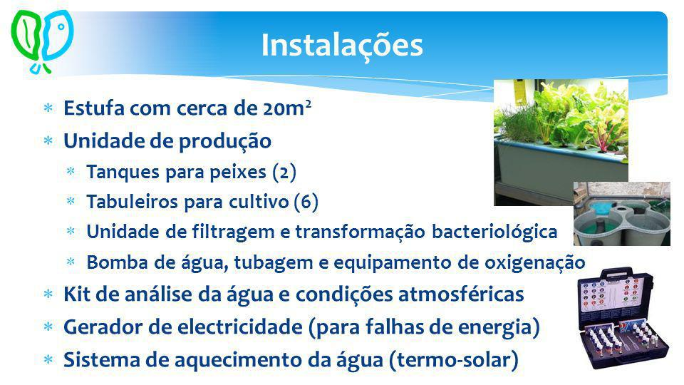 Estufa com cerca de 20m 2 Unidade de produção Tanques para peixes (2) Tabuleiros para cultivo (6) Unidade de filtragem e transformação bacteriológica Bomba de água, tubagem e equipamento de oxigenação Kit de análise da água e condições atmosféricas Gerador de electricidade (para falhas de energia) Sistema de aquecimento da água (termo-solar) Instalações