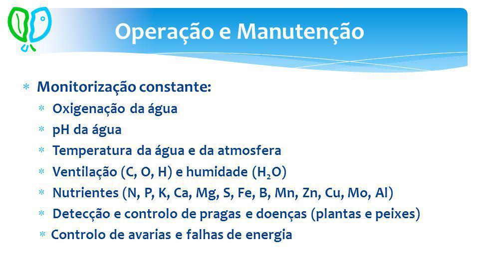 Monitorização constante: Oxigenação da água pH da água Temperatura da água e da atmosfera Ventilação (C, O, H) e humidade (H 2 O) Nutrientes (N, P, K, Ca, Mg, S, Fe, B, Mn, Zn, Cu, Mo, Al) Detecção e controlo de pragas e doenças (plantas e peixes) Controlo de avarias e falhas de energia Operação e Manutenção