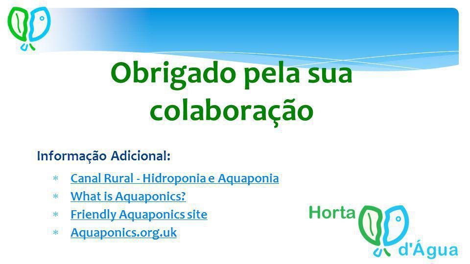 Obrigado pela sua colaboração Informação Adicional: Canal Rural - Hidroponia e Aquaponia What is Aquaponics? Friendly Aquaponics site Aquaponics.org.u