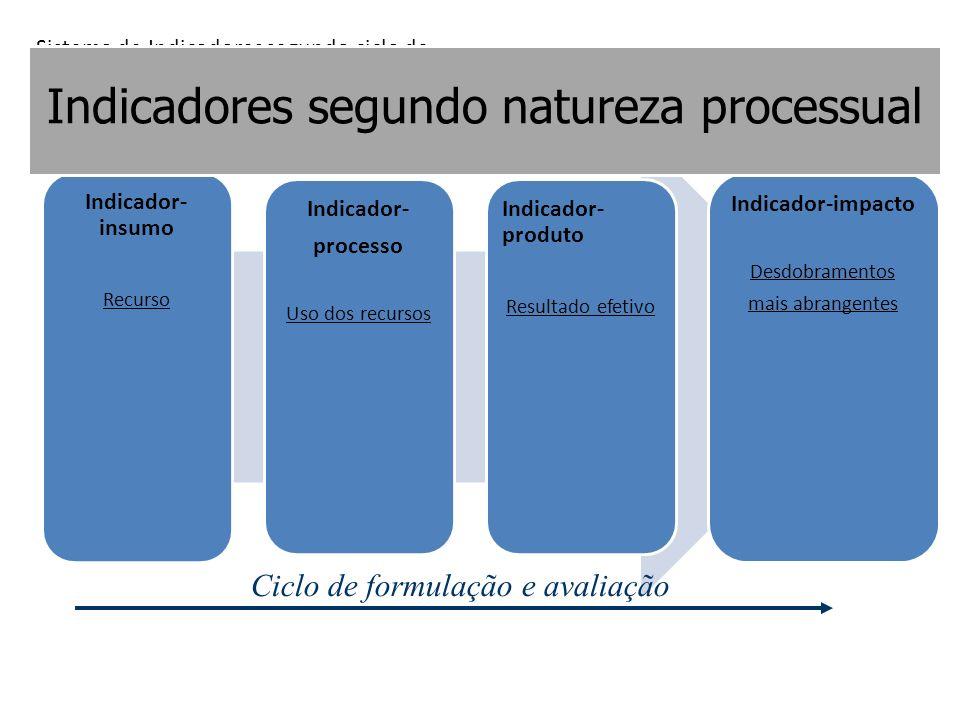 Indicador- insumo Recurso Indicador- processo Uso dos recursos Indicador- produto Resultado efetivo Indicador-impacto Desdobramentos mais abrangentes