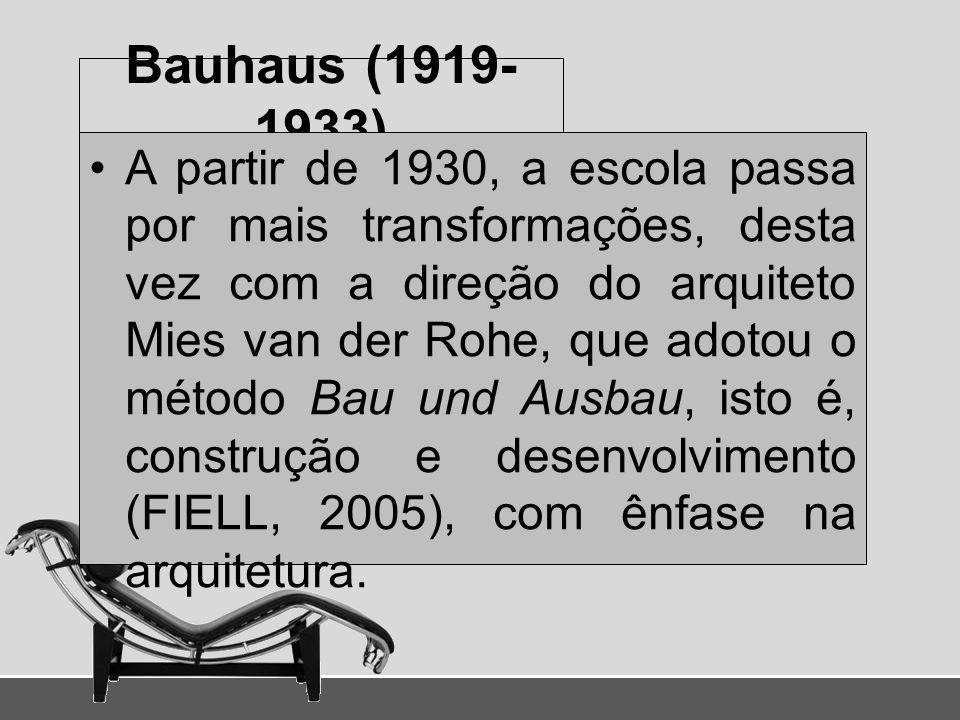 Bauhaus (1919- 1933) A partir de 1930, a escola passa por mais transformações, desta vez com a direção do arquiteto Mies van der Rohe, que adotou o mé