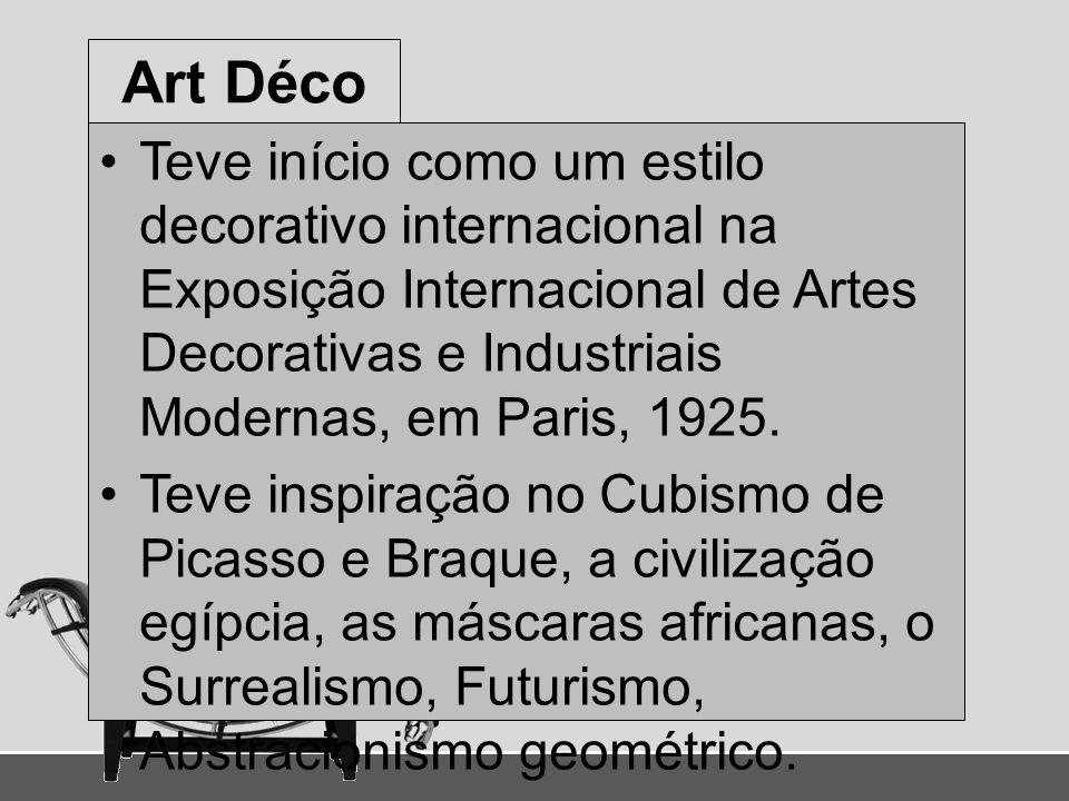 Art Déco Teve início como um estilo decorativo internacional na Exposição Internacional de Artes Decorativas e Industriais Modernas, em Paris, 1925. T