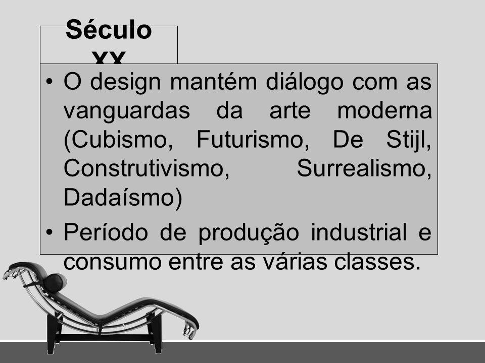 Século XX O design mantém diálogo com as vanguardas da arte moderna (Cubismo, Futurismo, De Stijl, Construtivismo, Surrealismo, Dadaísmo) Período de p