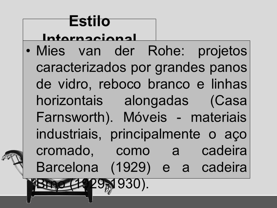 Estilo Internacional Mies van der Rohe: projetos caracterizados por grandes panos de vidro, reboco branco e linhas horizontais alongadas (Casa Farnswo