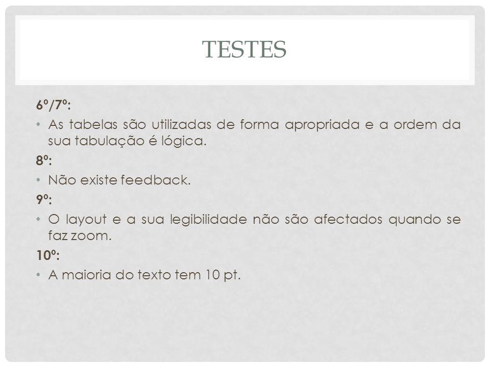 6º/7º: As tabelas são utilizadas de forma apropriada e a ordem da sua tabulação é lógica. 8º: Não existe feedback. 9º: O layout e a sua legibilidade n