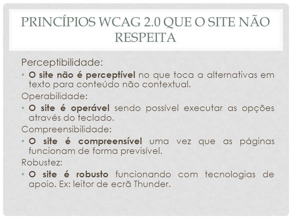 PRINCÍPIOS WCAG 2.0 QUE O SITE NÃO RESPEITA Perceptibilidade: O site não é perceptível no que toca a alternativas em texto para conteúdo não contextua