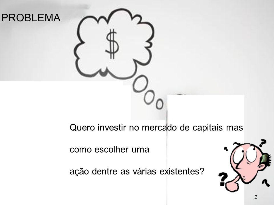 2 PROBLEMA Quero investir no mercado de capitais mas como escolher uma ação dentre as várias existentes? 2