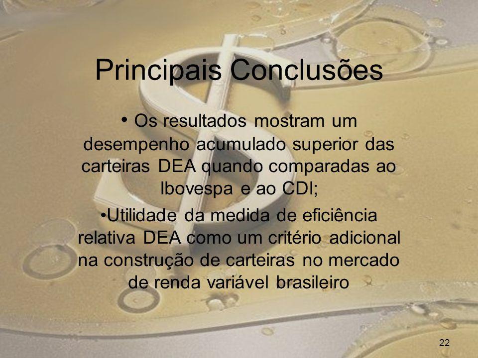 Principais Conclusões Os resultados mostram um desempenho acumulado superior das carteiras DEA quando comparadas ao Ibovespa e ao CDI; Utilidade da medida de eficiência relativa DEA como um critério adicional na construção de carteiras no mercado de renda variável brasileiro 22