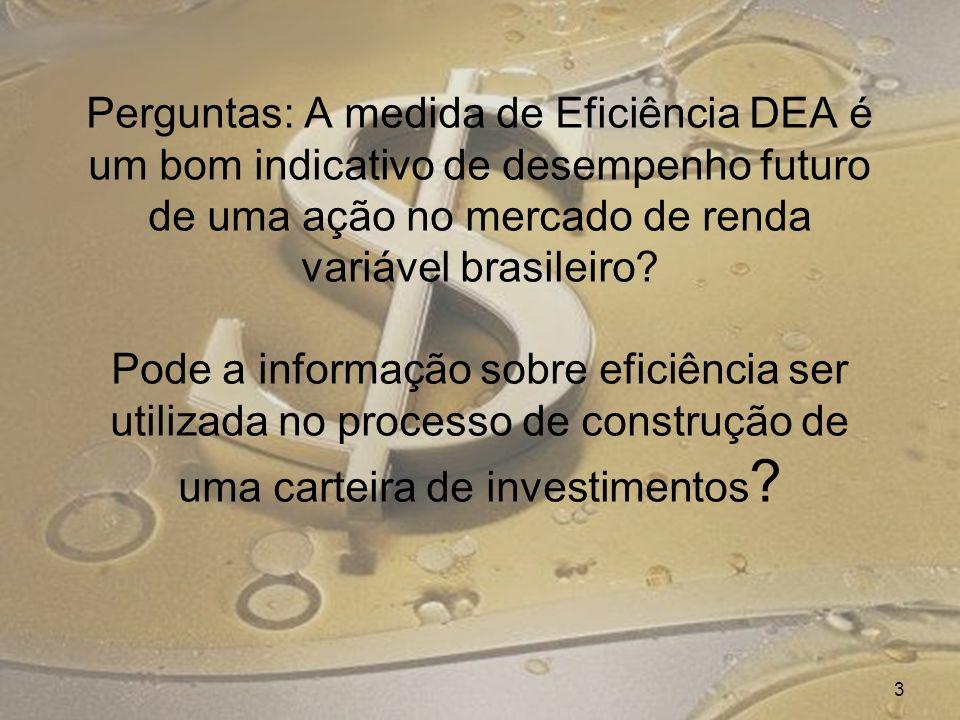 Perguntas: A medida de Eficiência DEA é um bom indicativo de desempenho futuro de uma ação no mercado de renda variável brasileiro? Pode a informação
