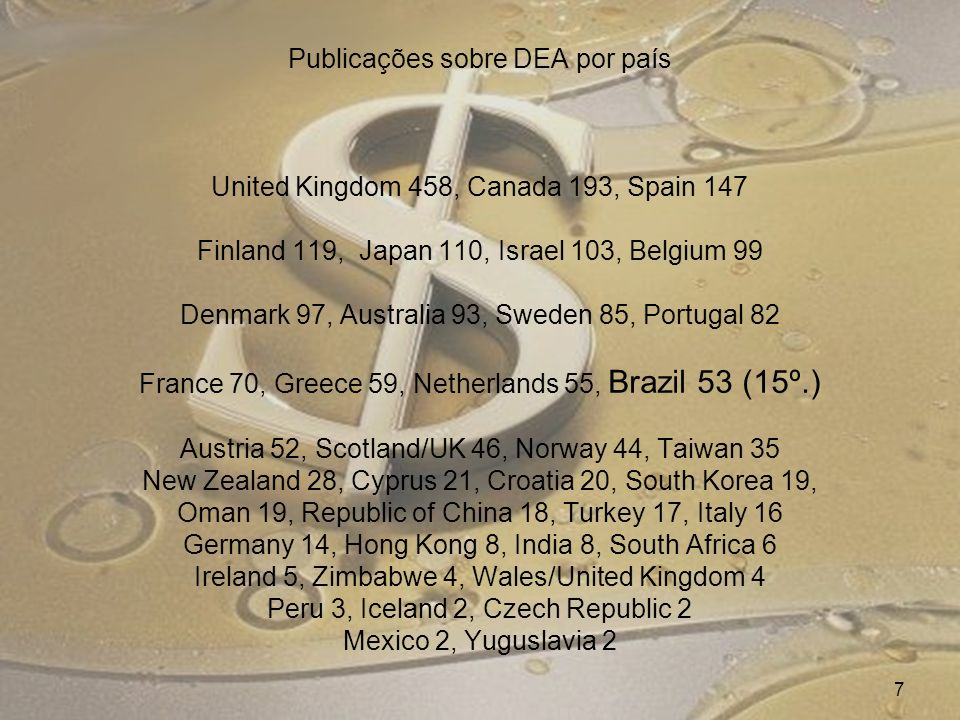 Publicações sobre DEA por país United Kingdom 458, Canada 193, Spain 147 Finland 119, Japan 110, Israel 103, Belgium 99 Denmark 97, Australia 93, Sweden 85, Portugal 82 France 70, Greece 59, Netherlands 55, Brazil 53 (15º.) Austria 52, Scotland/UK 46, Norway 44, Taiwan 35 New Zealand 28, Cyprus 21, Croatia 20, South Korea 19, Oman 19, Republic of China 18, Turkey 17, Italy 16 Germany 14, Hong Kong 8, India 8, South Africa 6 Ireland 5, Zimbabwe 4, Wales/United Kingdom 4 Peru 3, Iceland 2, Czech Republic 2 Mexico 2, Yuguslavia 2 7