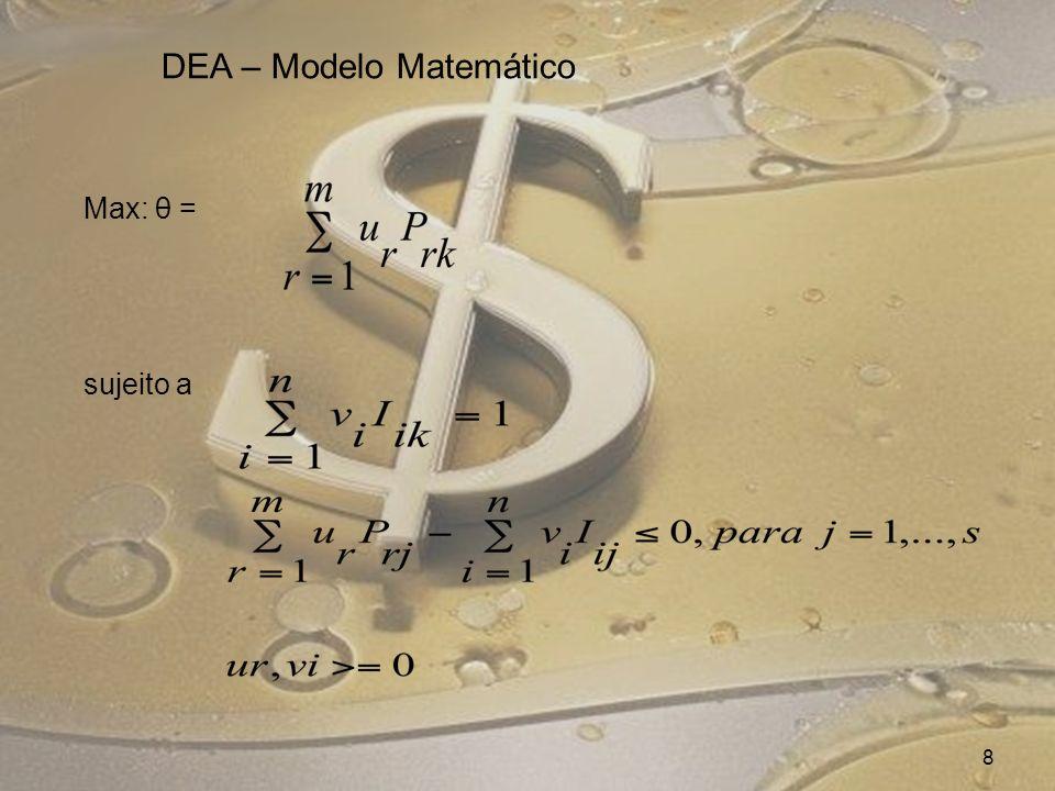 Max: θ = sujeito a (1) 8 DEA – Modelo Matemático